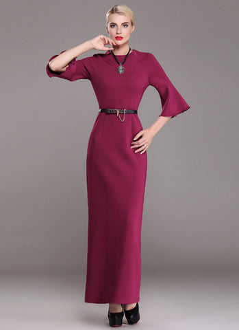 Medium Violet Red Maxi Dress with Trumpet Sleeves RM368