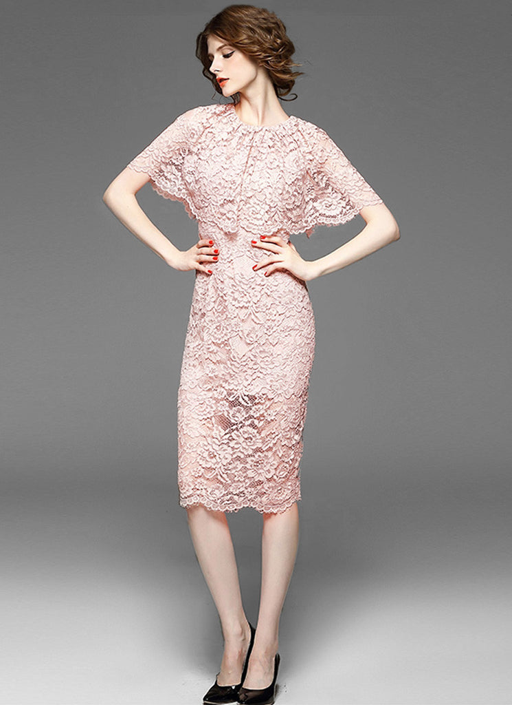 Dusty Rose Pink Lace Mini Sheath Dress with Layered Cloak Top and Scalloped Hem