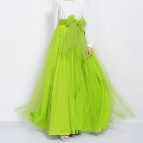 Lime Green Tulle Maxi Skirt with Bow Sash and Extra Wide Hem - Long Lawn Green Tulle Skirt Floor Length - SK3d