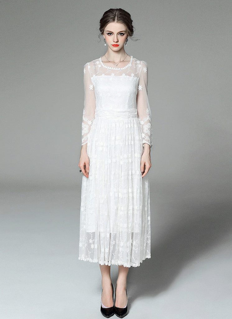 Long Sleeved Tulle Lace Maxi Dress with Floral Embroidery