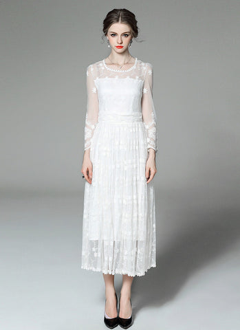 Long Sleeved Tulle Lace Maxi Dress with Floral Embroidery MX56