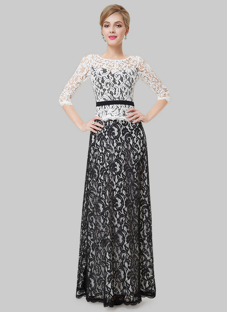 Contrast Color Lace Evening Gown with White Top and Black Skirt