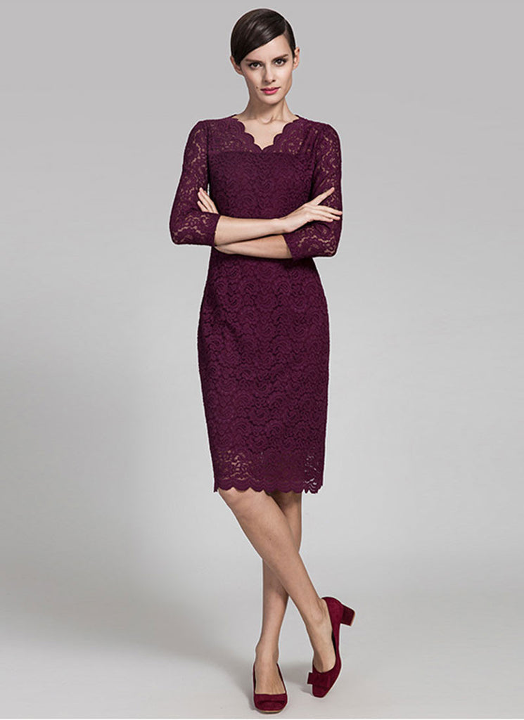 V Neck Dark Purple Lace Mini Dress with Three Quarter Sleeves and Scalloped Hem