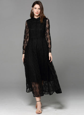 Long Sleeve Black Lace Maxi Dress with Shirt Top MX55