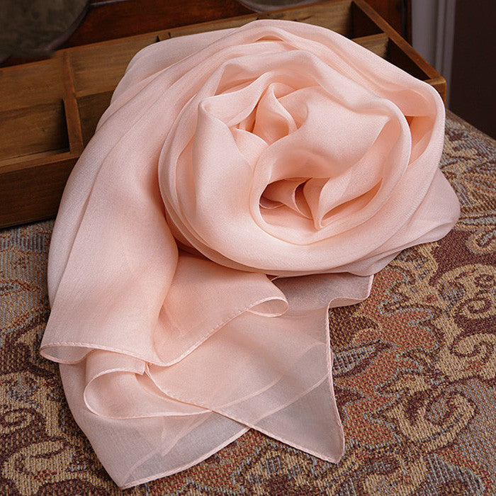 Light Nude Pink Silk Chiffon Scarf - Misty Rose Mulberry Silk Scarf SS19