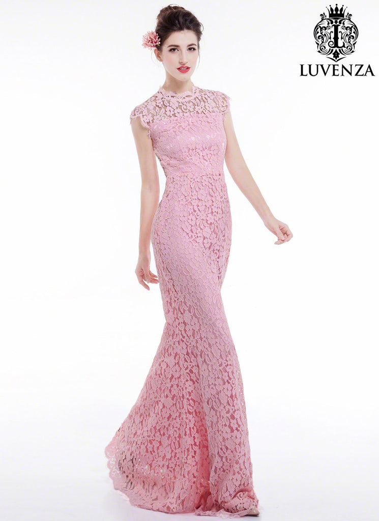Open Back Pink Floral Lace Floor Length Evening Dress with Mermaid ...