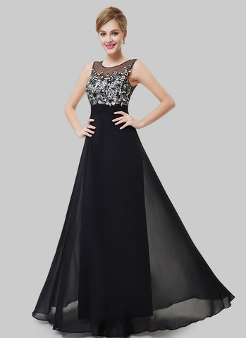Black Evening Gown with Sequined Top and Open Back RM523