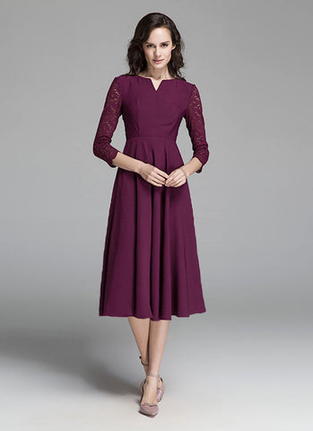 Maroon Lace Chiffon Midi Dress with Vented Neck and Three Quarter Sleeves MD12