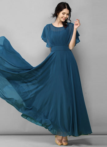 Dark Teal Chiffon Maxi Dress with Modified Dolman Sleeves RM556