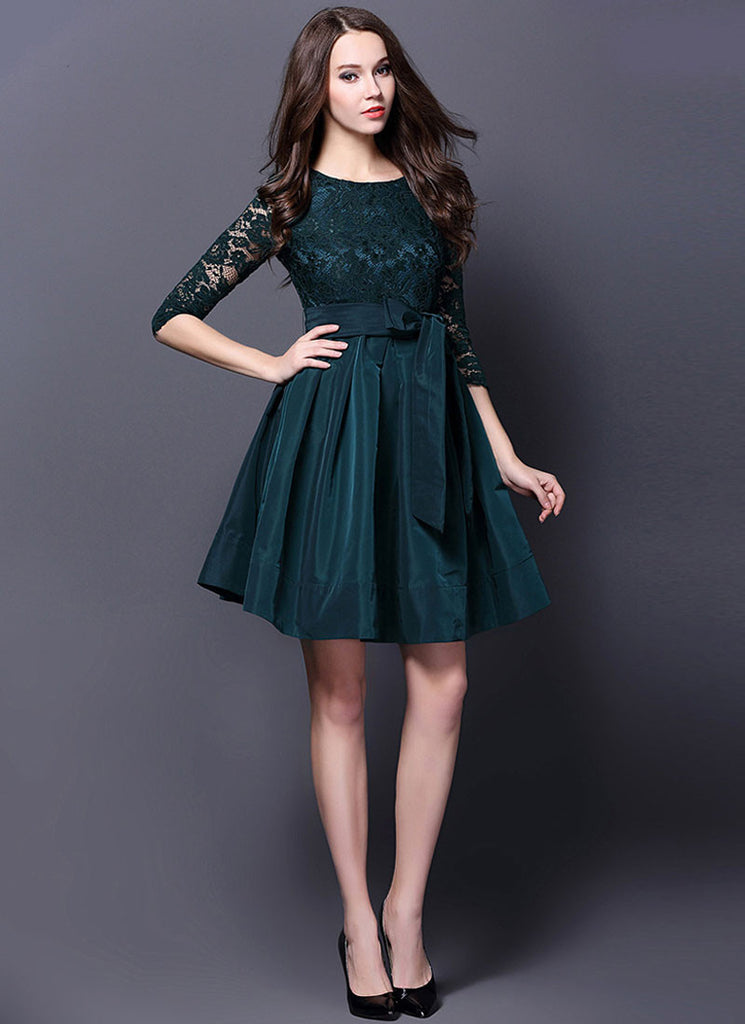 Dark Teal Lace Satin Mini Dress with V Back and Sash