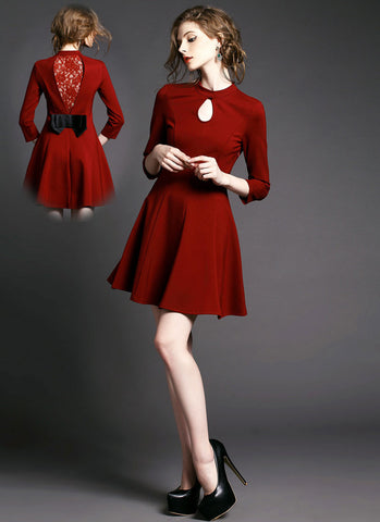 Maroon Fit and Flare Mini Dress with Lace Details RD378