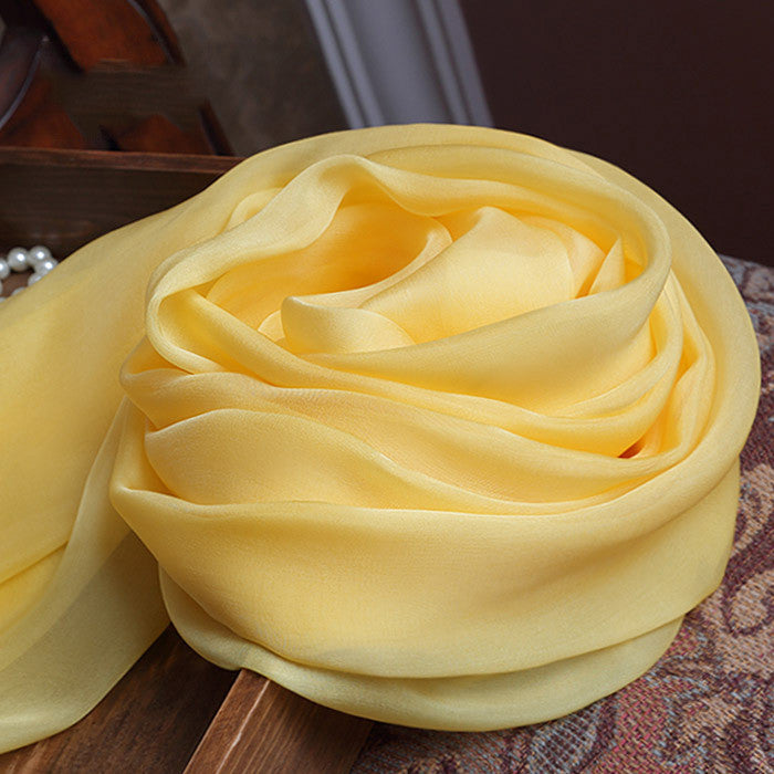 Yellow Silk Chiffon Scarf - Soft Yellow Mulberry Silk Scarf SS14