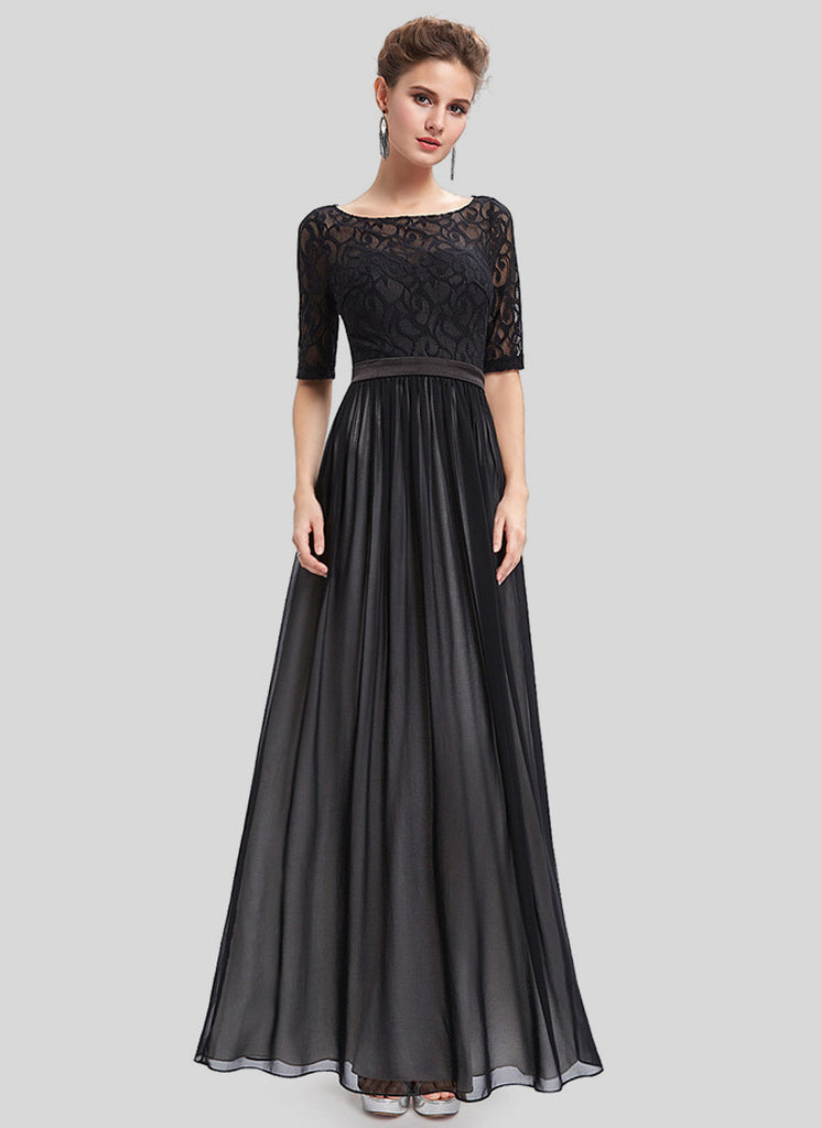 Open Back Black Maxi Dress with Boat Neck and Elbow Sleeves