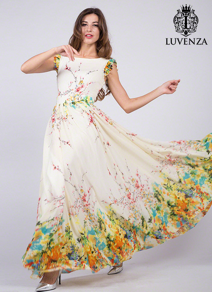 Artsy Yellow Chiffon Floral Prom Dress with Rainbow Floral Print and Extra Wide Skirt Hem