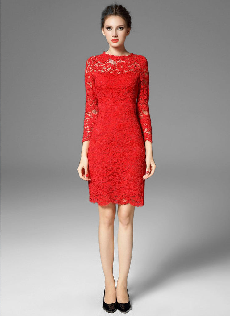 Long Sleeve Red Lace Sheath Mini Dress with Scalloped Hem and Bow Embellishment Back