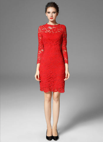 Long Sleeve Red Lace Sheath Mini Dress with Scalloped Hem and Bow Embellishment Back MN54