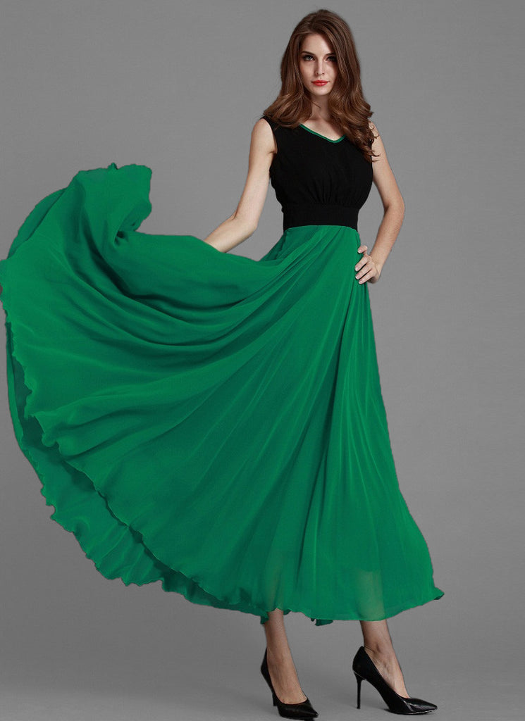 V Neck Green Chiffon Maxi Dress with Black Top