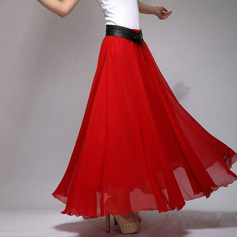 True Red Chiffon Maxi Skirt with Extra Wide Hem - Long Crimson Chiffon Skirt - SK2e