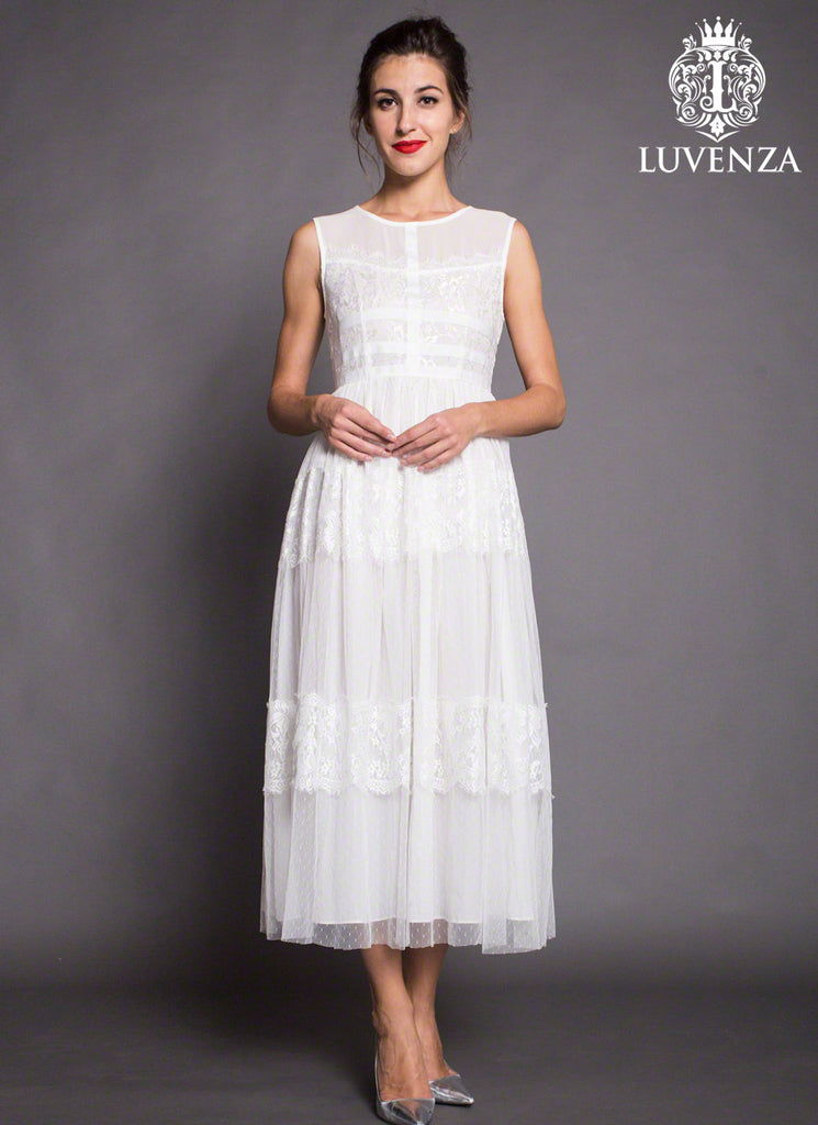 White Lace Tulle Midi Dress with Banded Top and Lace Trim Applique Skirt