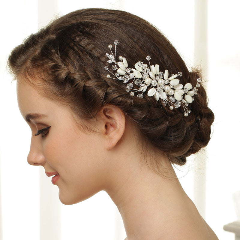 Hand Wired Bridal Headpiece - Crystal Wreath with Floral Pattern - Crystal Bridal Halo HP10