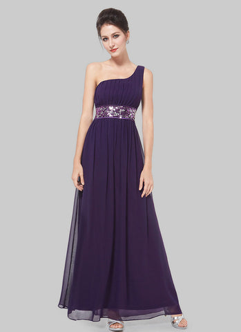 One Shoulder Purple Maxi Dress with Sequin Waist Yoke RM516