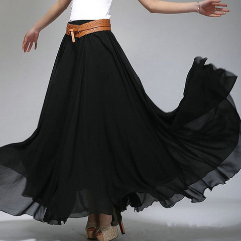 Black Chiffon Maxi Skirt with Extra Wide Hem - Long Black Chiffon Skirt - SK2a