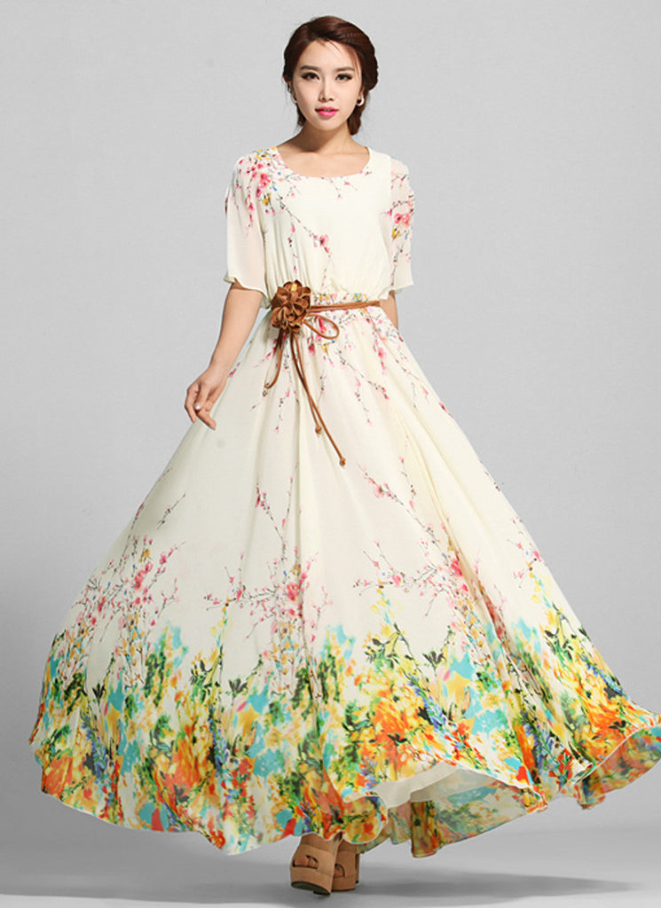 Yellow Floral Maxi Dress with Open Shoulder Sleeves