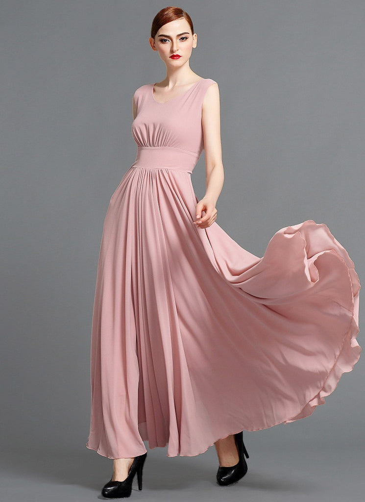 V Neck Dusty Rose Pink Chiffon Maxi Dress with Scoop Back