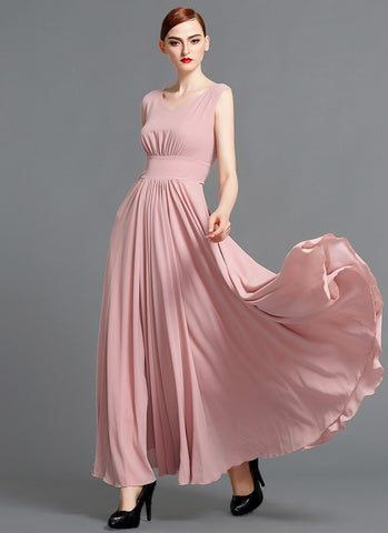 V Neck Dusty Rose Pink Chiffon Maxi Dress with Scoop Back MX11