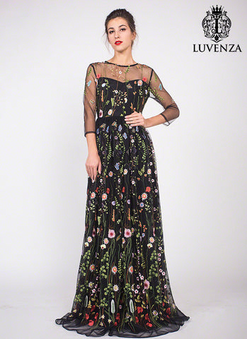 Black Tulle Floor Length Dress with Colorful Floral Embroidery