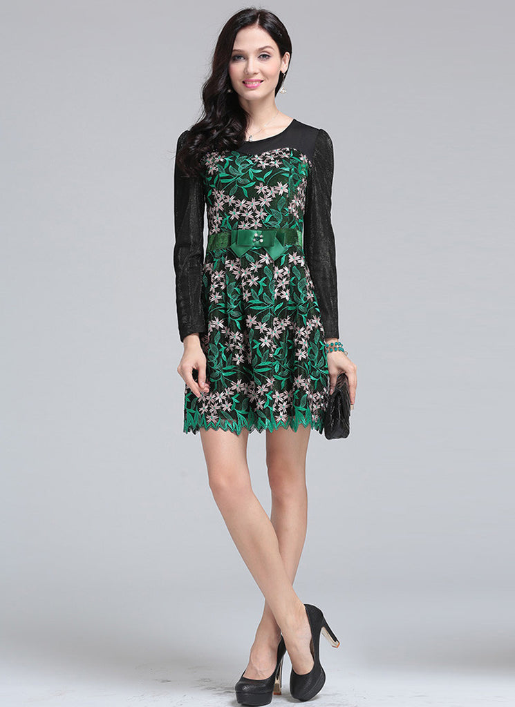 Long Sleeved Black Aline Mini Dress with Contrast Colored Green Embroidery