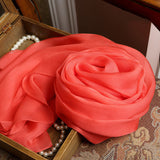 Coral Silk Chiffon Scarf - Tomato Red Mulberry Silk Scarf SS17