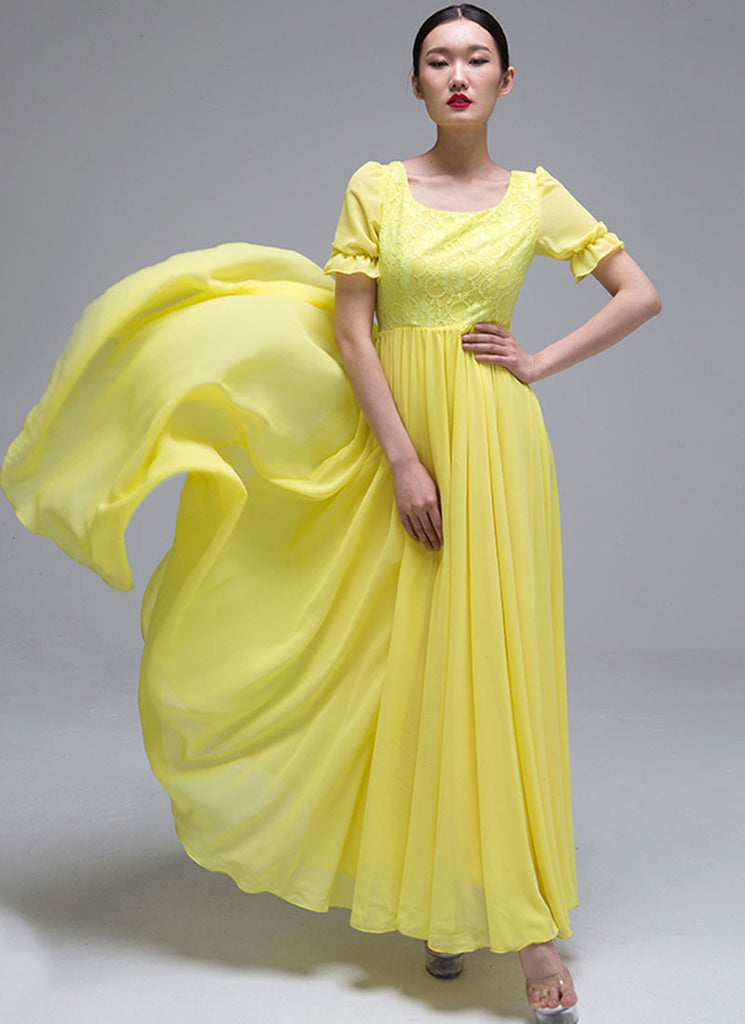 Yellow Lace Chiffon Maxi Dress with Puff Sleeves
