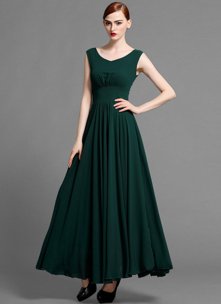 Sleeveless V Neck Dark Green Chiffon Maxi Dress with Scoop Back