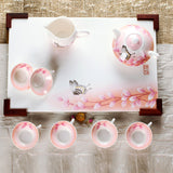 Oriental Style Fine Bone China Tea Set (9 Pieces) with Butterfly and Leaf Branch Paint