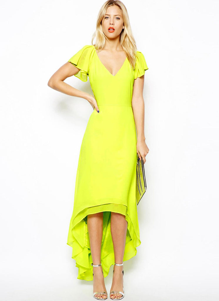 Fluorescent Yellow Green Hi Low Hem Chiffon Dress with V Neck V Back and Flutter Sleeves