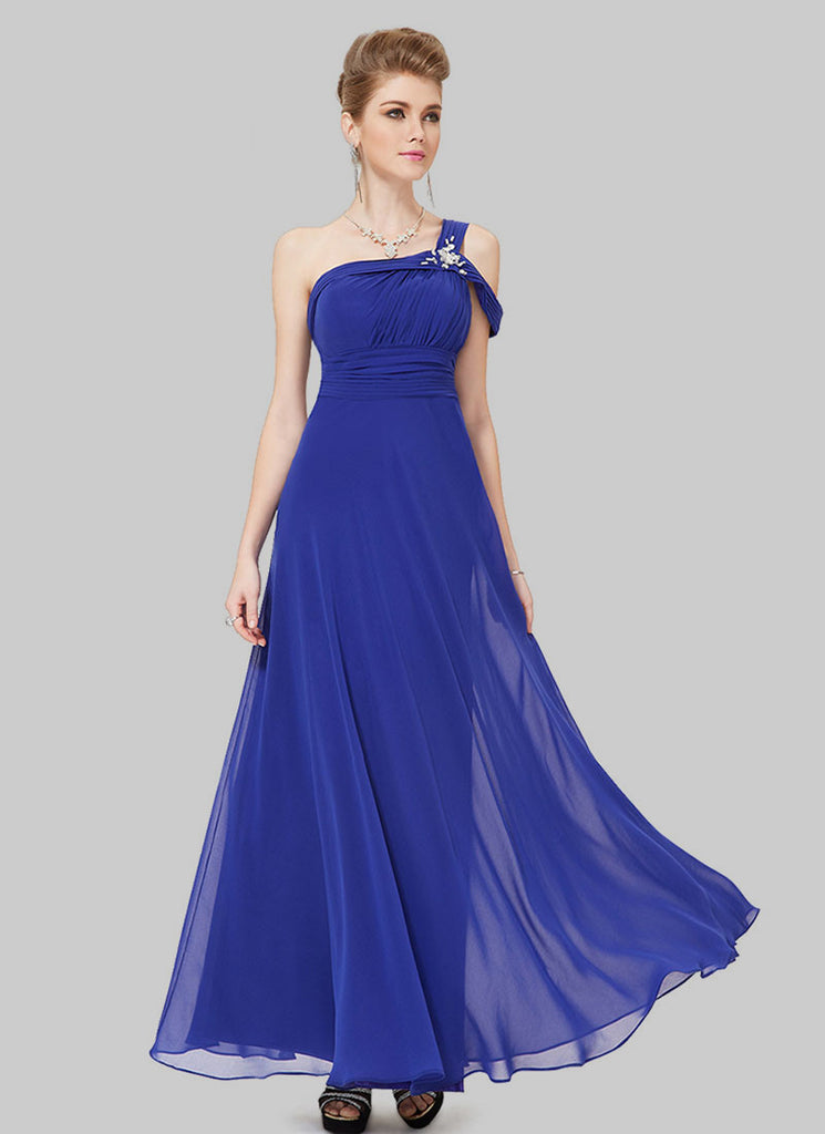 One Shoulder Blue Maxi Dress