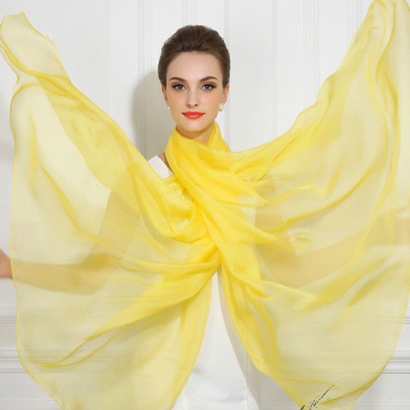 Bright Yellow Silk Chiffon Scarf - Yellow Silk Scarf - Large Silk Shaw - SS48