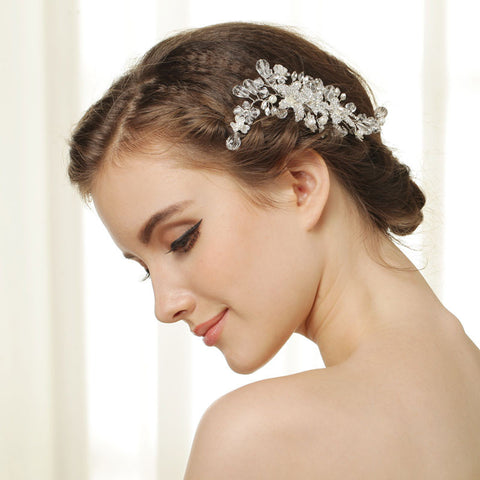 Hand Wired Bridal Headpiece - Crystal Wreath with Floral Pattern - Rhinestone Wedding Headpiece - Bridal Hair Piece- HP26