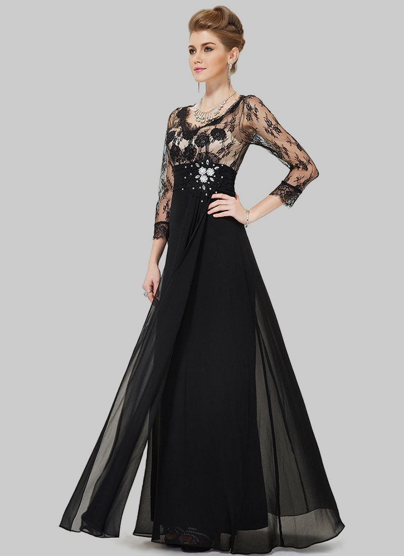 Black Lace Evening Gown with Appliqué and Rhinestone Embellishment ...