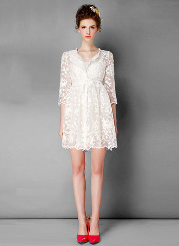 Floral Embroidered White Mini Dress with Half Sleeves RD320