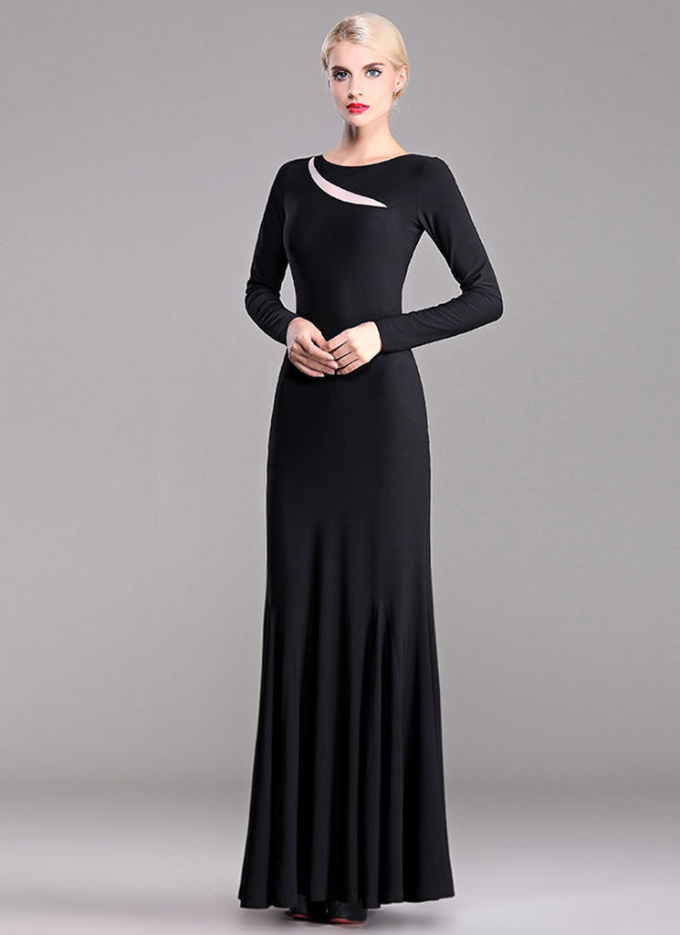 Long Sleeve Black Maxi Dress with Contrast White Organza Insertion