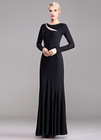 Long Sleeve Black Maxi Dress with Contrast White Organza Insertion RM403