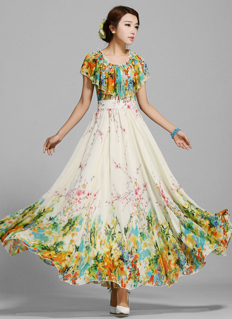Yellow Floral Maxi Dress with Cloak Overlay and Flounce Neck