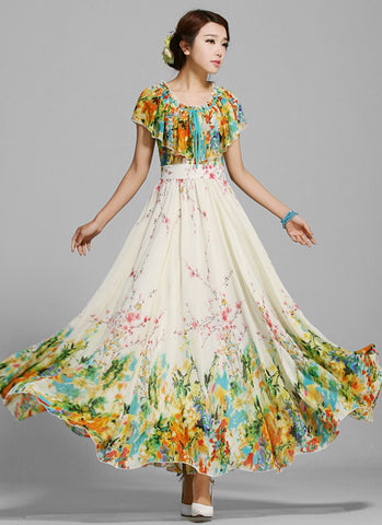 Yellow Floral Maxi Dress with Cloak Overlay and Flounce Neck MX41