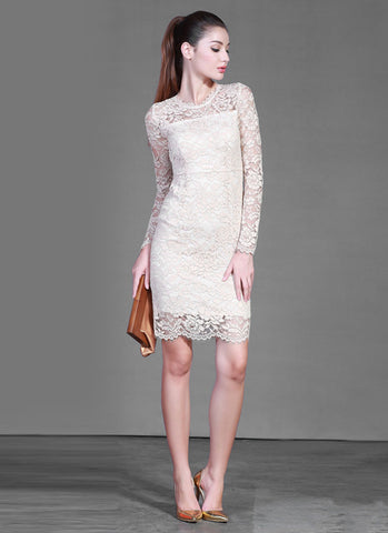 Long Sleeve Beige Lace Sheath Dress with Scallop and Eyelash Details RD367
