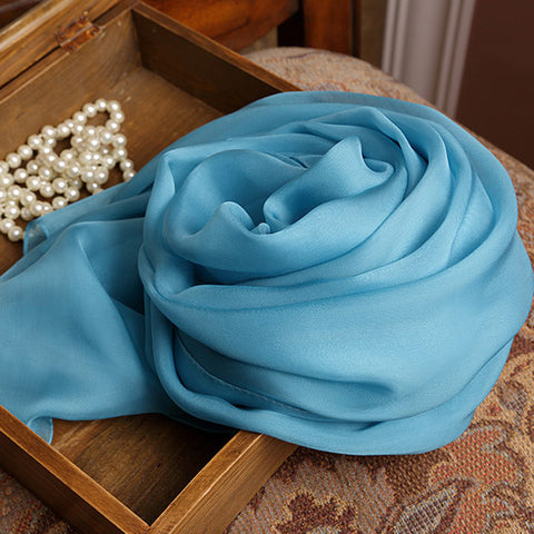 Lake Blue Silk Chiffon Scarf - Steel Blue Mulberry Silk Scarf SS16