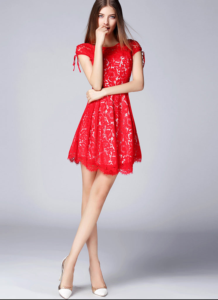 True Red Lace Mini Fit and Flare Dress with Scallop and Eyelash Hem and V Back