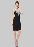 Black Sheath Mini Dress with Contrast Colored Lace Neck