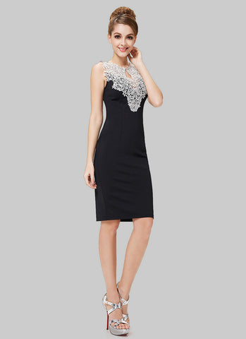 Black Sheath Mini Dress with Contrast Colored Lace Neck RD400